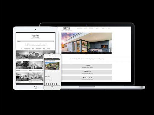 Core Immobilien AG · CI, Webdesign, Grafik, Druck